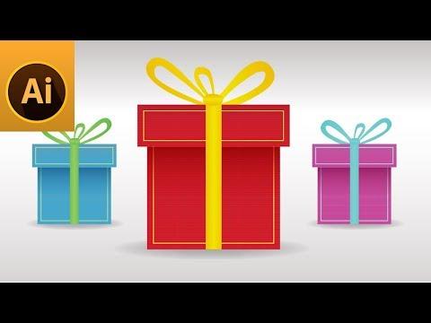 Gift Box Flat Icon Illustrator Tutorial