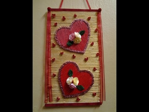 Best out of waste paper twin heart wall hanging part 3 for Waste paper wall hanging