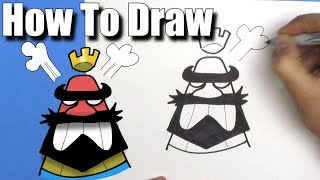 How To Draw Clash Royale Angry King Emoji - Step By Step