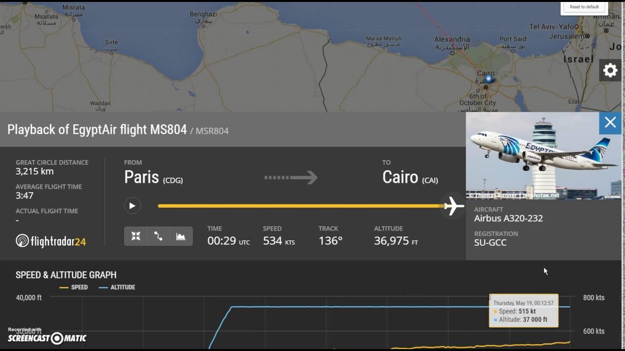 Egypt Air 804 MS804 MSR804 FlightRadar24 com summary
