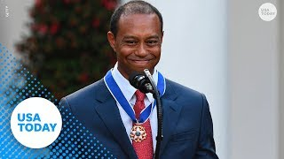Tiger Woods gets emotional during Medal of Freedom ceremony
