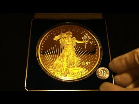 Hd 8 Oz Silver Proof Gold Plated Replica 1997 Of American Gold Double Eagle Vs Dime