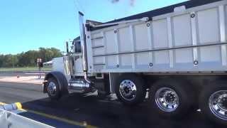 Triaxle dump drag racing quick island dragway  9-27-14