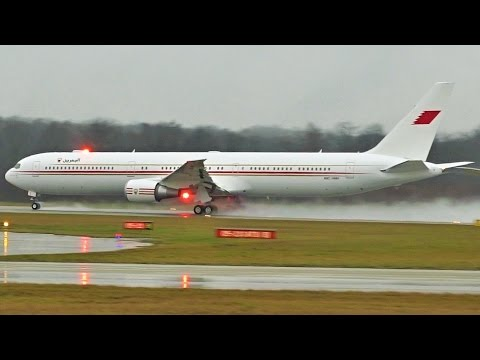 [FullHD] *RARE* Bahrain Royal Flight Boeing 767-400(ER) landing & takeoff at Geneva/GVA/LSGG