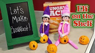 Purple & Pink Elf on the Shelf - Making Breakfast & Drinking Oranges! Day 16