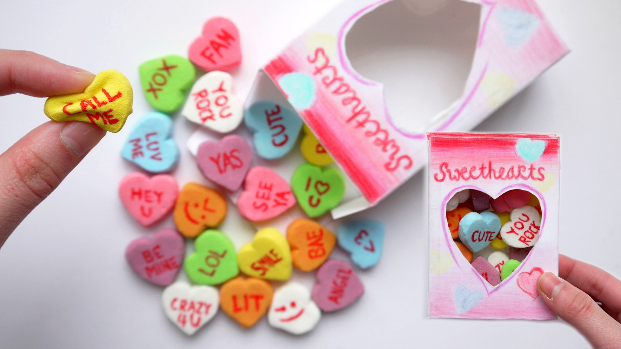 How To Make SQUISHY Conversation Candy Hearts Packaging