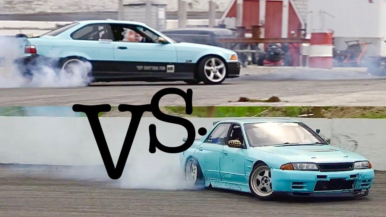 v8 nissan skyline r32 vs. bmw e36 m3 drift car - youtube