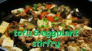 pork eggplant tofu stirfry inspired by cooking with dog