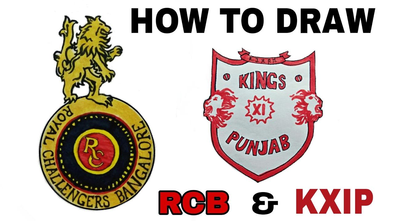 how to draw rcb amp kxip logo ipl 10 artist munda youtube