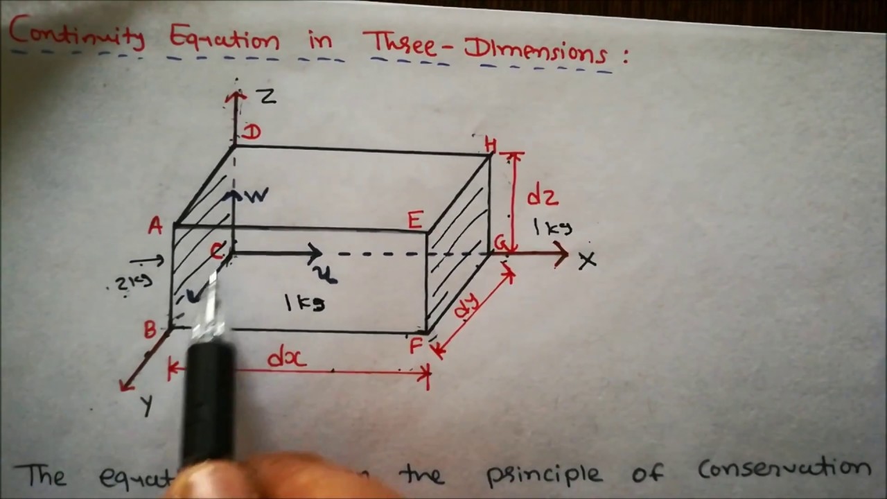 continuity equation in 3 dimensions