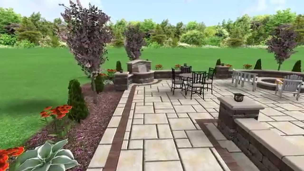 unilock yorkstone patio with water feature - Unilock Patio Designs