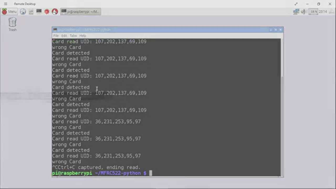 Raspberry Pi 2 + MFRC522-python 6 - read RFID tags using RFID Reader,  RFID-RC522