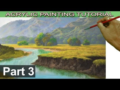Acrylic Landscape Painting Tutorial on Bigger Canvas | Fields, Trees, Cliffs and River Bank | Part 3