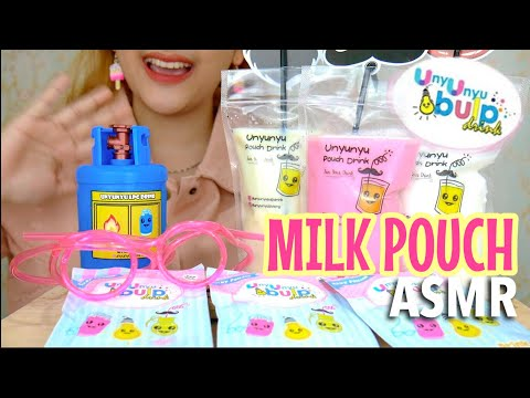 ASMR Drinking Sounds : MILK POUCH by Unyu Unyu Bulp Drink (Whispered) | ASMR Indonesia #Ad