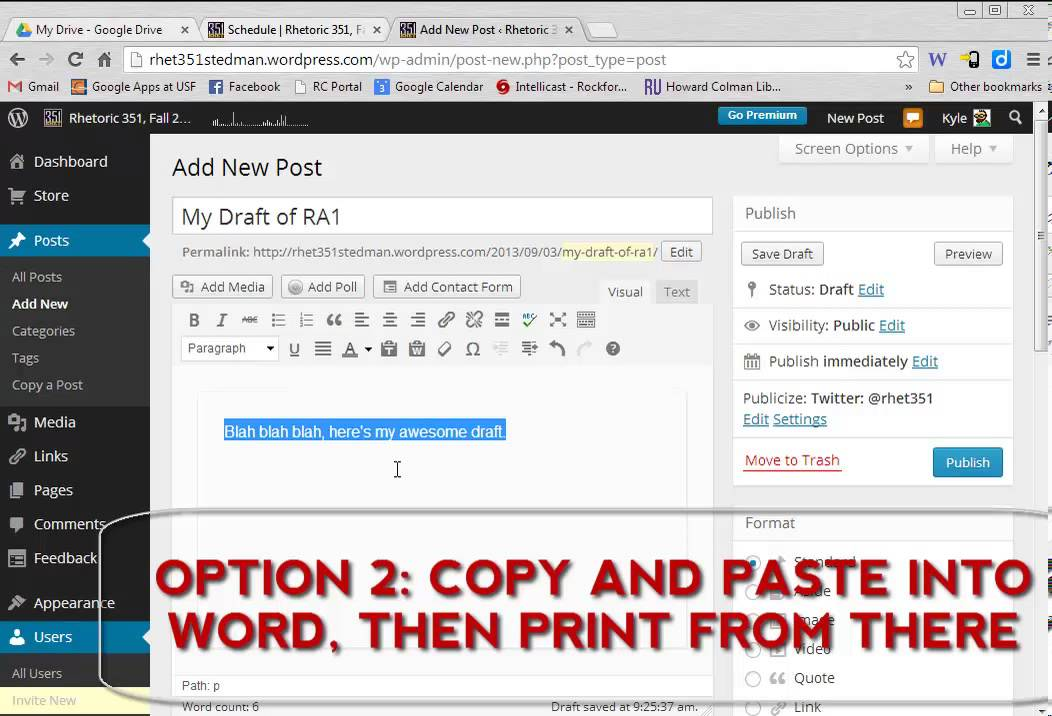 How to Print a Draft from Wordpress