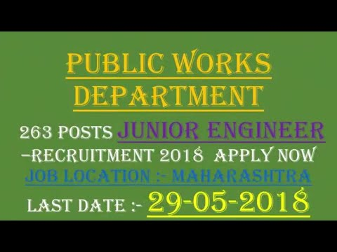 Public Works Department 263 Posts –Recruitment 2018  Apply Now