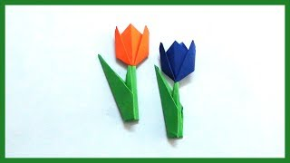 DIY Tulip Paper Flowers Origami | How to Make Easy & Simple Paper Flowers