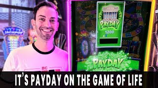 💵 PAYDAY! Cashing In on GAME OF LIFE 👷Progressive WIN on Dancing Drums EXPLOSION
