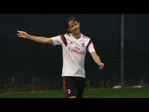 Inzaghi's brace in a practice match | AC Milan Official