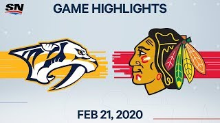 NHL Highlights | Predators vs. Blackhawks - Feb. 21, 2020