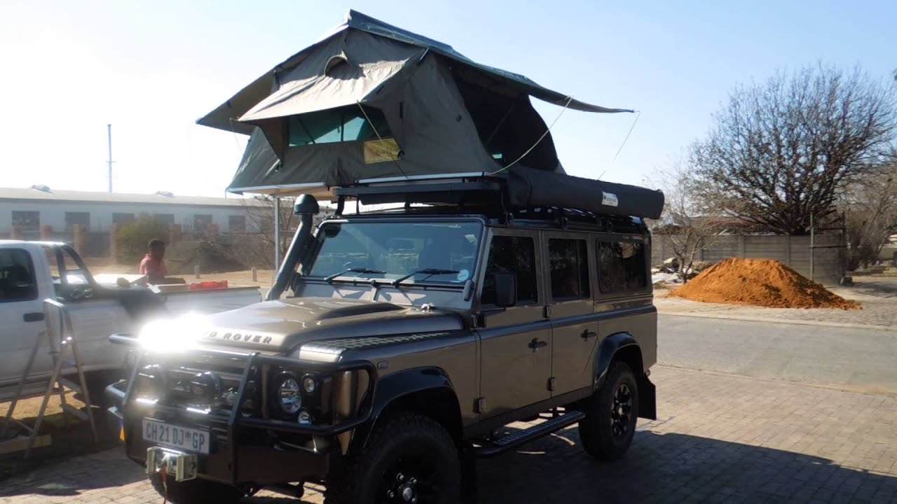 Land rover 110 Defender. fitted with a Eezi Awn 1.4m roof top tent - YouTube & Land rover 110 Defender. fitted with a Eezi Awn 1.4m roof top tent ...