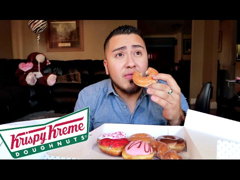 Krispy Kreme Doughnuts Mukbang Valentines Day Eating Show Youtube