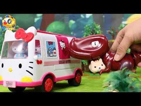 공룡 티라노가 아기다람쥐 돌보기 장난감이야기 토이버스 Kids Toys   Baby Doll Play   ToyBus