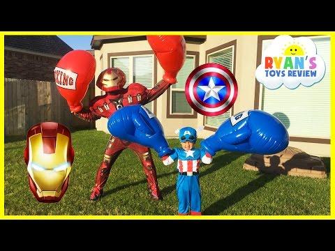 Caption America Civil War vs Iron Man Avengers Giant Boxing Challenge Egg Surprise Toys Disney Cars
