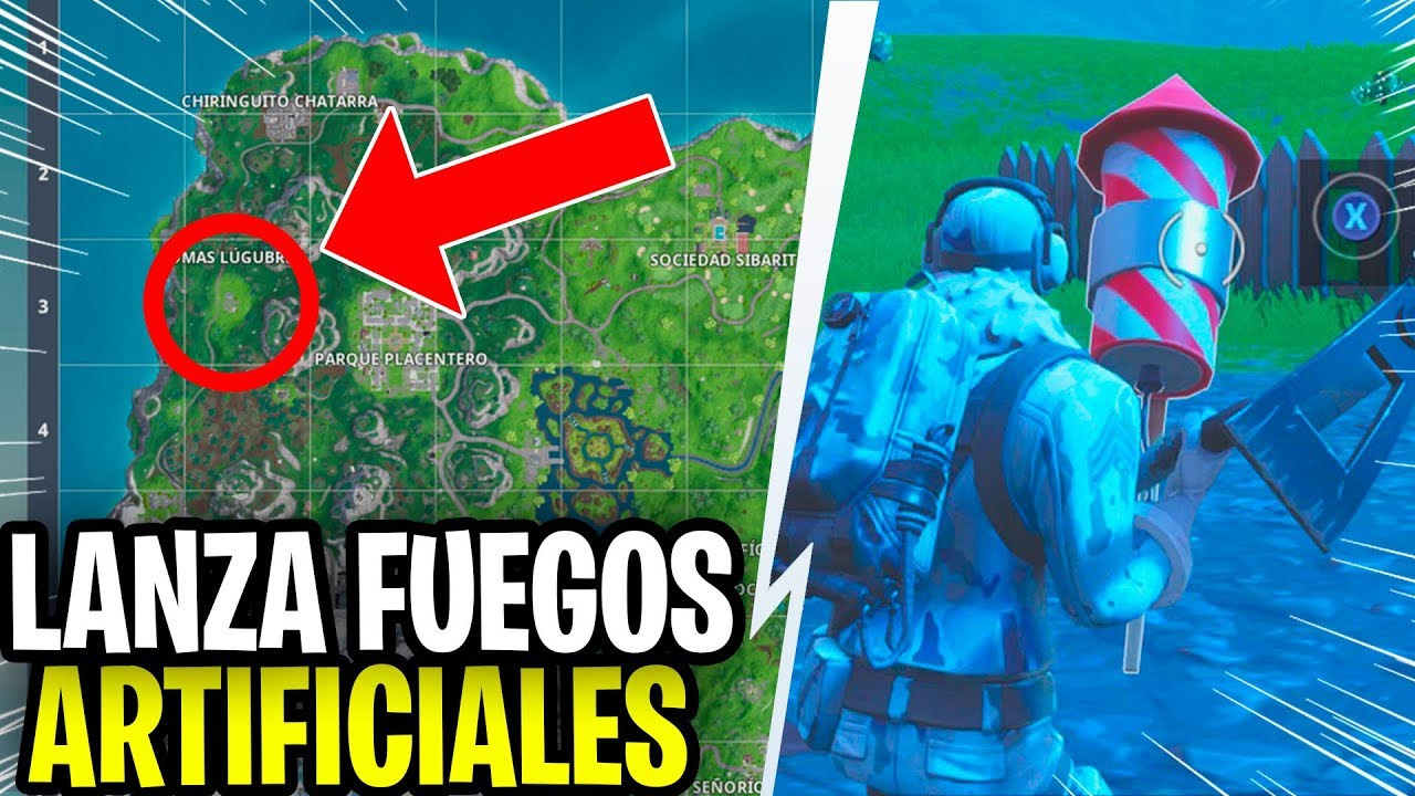Lanza Fuegos Artificiales Desafios Semana 4 Fortnite Youtube
