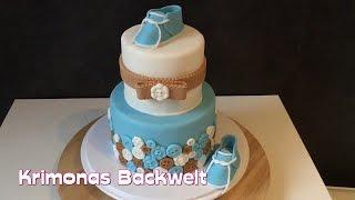 2-stöckige Babyshower Fondant Torte / Baby Boy Shower Fondant Cake