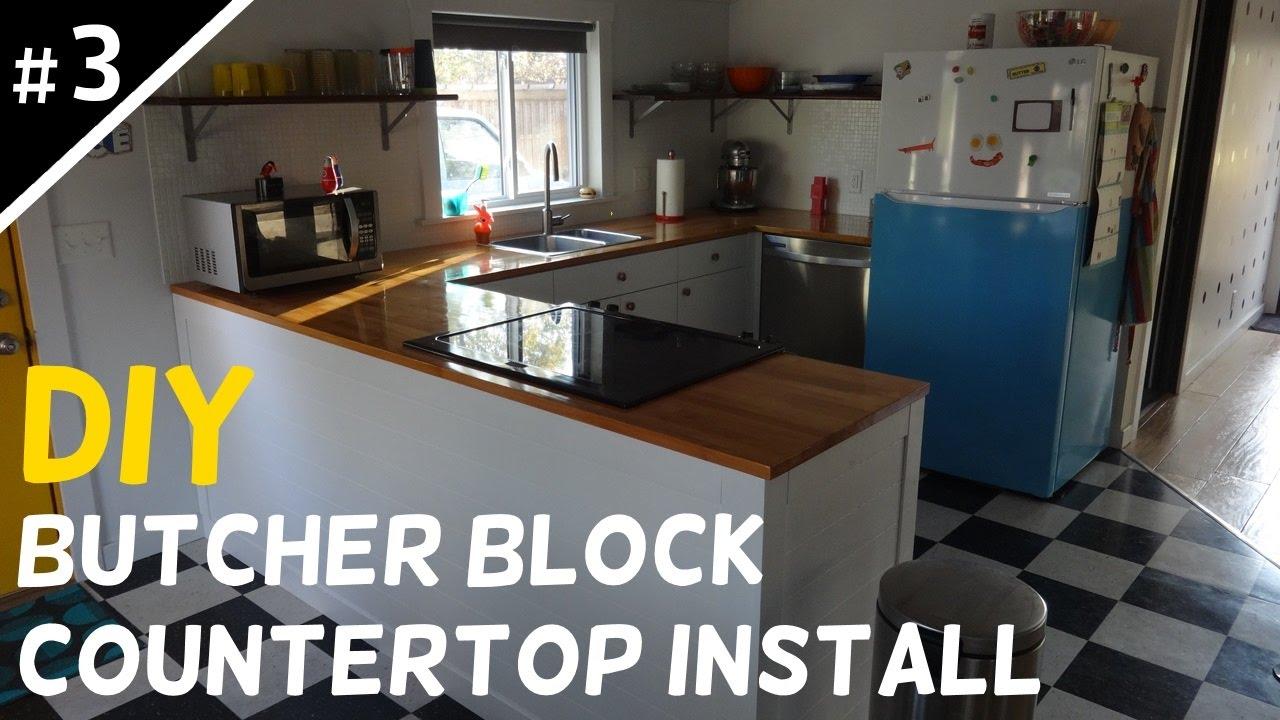 Install your own butcher block countertops part 3 of 5 for Install butcher block countertops
