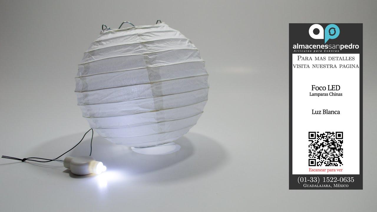 Focos led de luz blanca para lamparas chinas youtube for Lamparas de focos