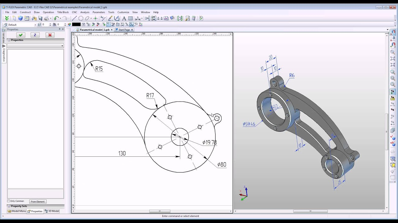 T Flex Cad 3d Model Control With Dimensional Drawing