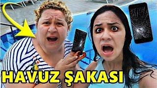 ANNEME KORKUNÇ HAVUZ ŞAKASI YAPTIM !! (TELEFONUNU HAVUZA FIRLATTIM)