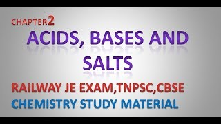 Acid, Base & Salt - RAILWAY JE EXAM,- TNPSC - ,CBSE -  CHEMISTRY STUDY MATERIAL