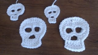how to crochet a skull applique 2 different sizes