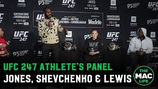 Jon Jones arrives late to join Valentina Shevchenko & Derrick Lewis | UFC 247 Athlete's Panel
