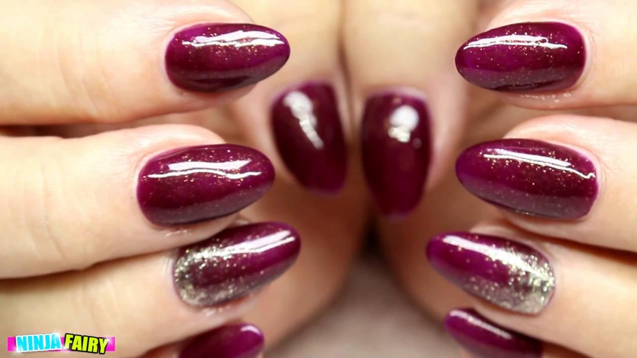 acrylic nails autumn berry colour