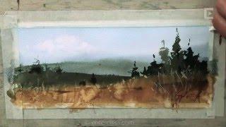 Сергей Курбатов. Осенний пейзаж. Акварель / Sergey Kurbatov Draws. Autumn landscape. Watercolor