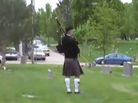 Granpiper plays at a friend's funeral