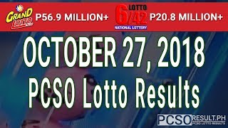 PCSO Lotto Results Today October 27, 2018 (6/55, 6/42, 6D, Swertres, STL & EZ2)