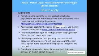Kerala - Online Obtain Liquor Possession Permit for serving in Special occassions