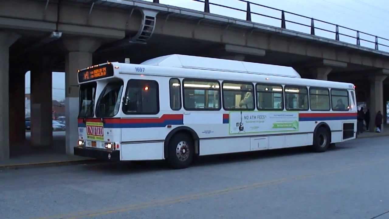 mta long island bus orion v cng #1697 n41 departing freeport lirr