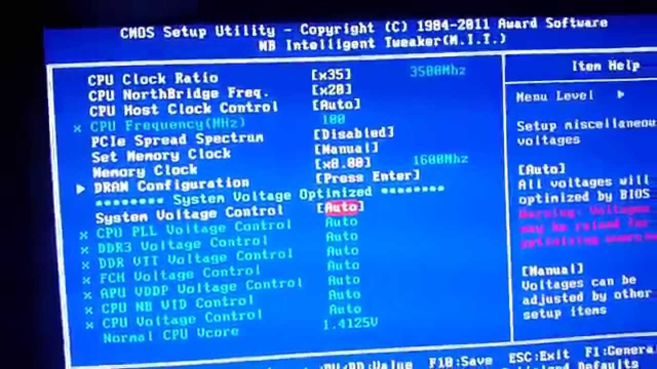 Bios settings for fast boot v1