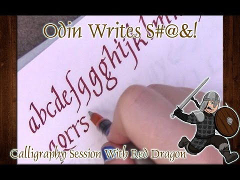 OWS: Calligraphy Session With Diamine Red Dragon