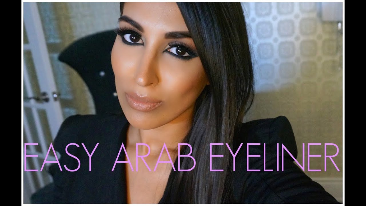 Easy arab eye make up black eyeliner youtube baditri Choice Image