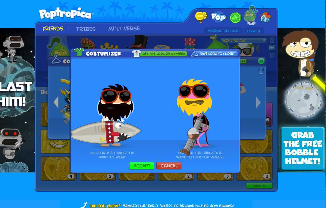 Poptropica How to Costumise Saved Costumes in Your Closet Without Mebership