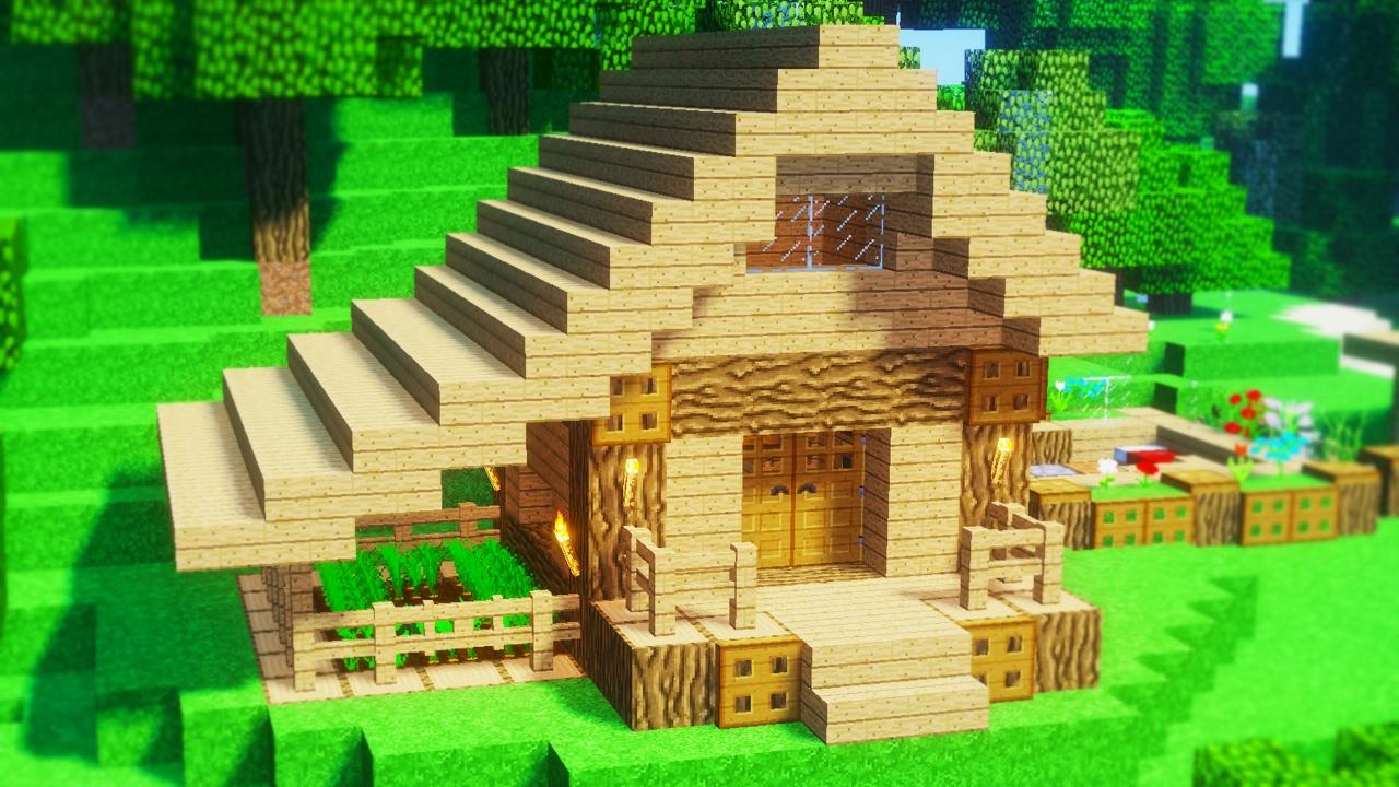 Minecraft Jak Zbudowac Maly Dom Na Start Pod Survival Youtube