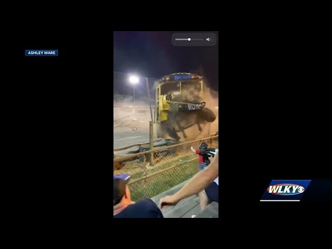 Driver loses control during Zombie School Bus races in Clarksville