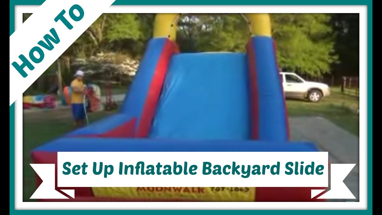how to set up an inflatable backyard slide youtube